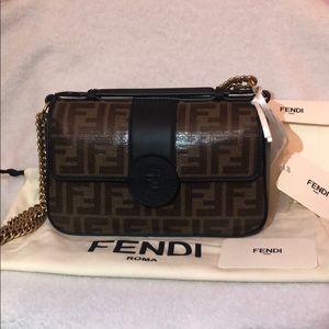Fendi Coated Canvas & Leather Shoulder Bag